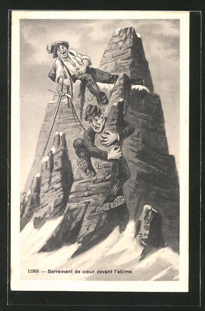 AK Serrement de coeur devant l'abime, Bergsteigen