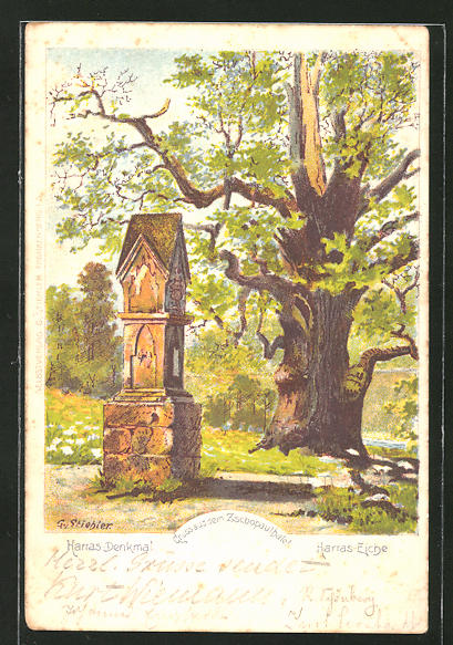 Lithographie Harras-Denkmal & Harras-Eiche