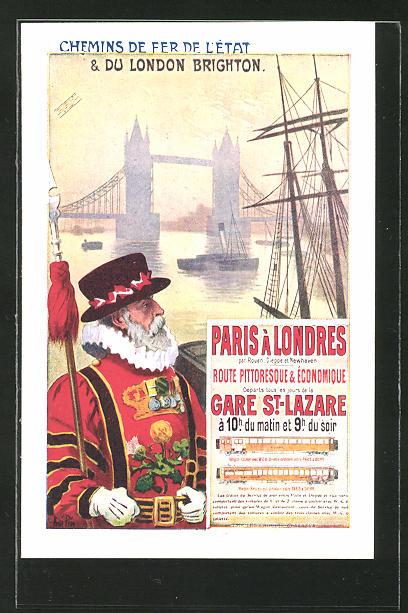 AK Chemins de fer de l'ètat & du London Brighton, Reklame für Tourismus
