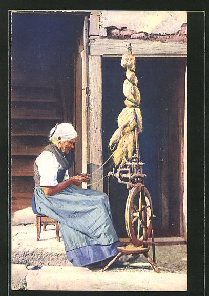 AK Schweizer Frau am Spinnrad