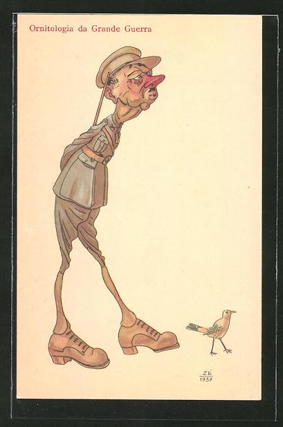 AK Soldat läuft einem Vogel hinterher, Karikatur, Ornitologia da Grande Guerra