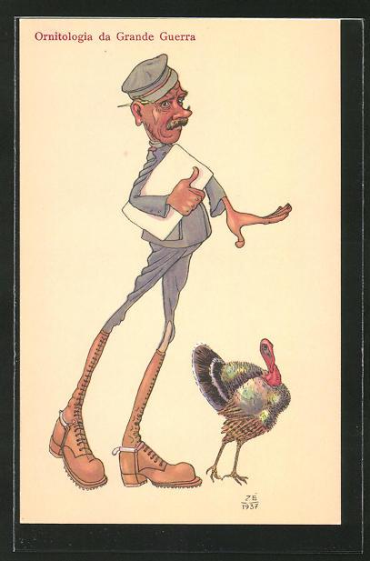 AK Soldat mit Papieren verfolgt einen Vogel, Karikatur, Ornitologia da Grande Guerra
