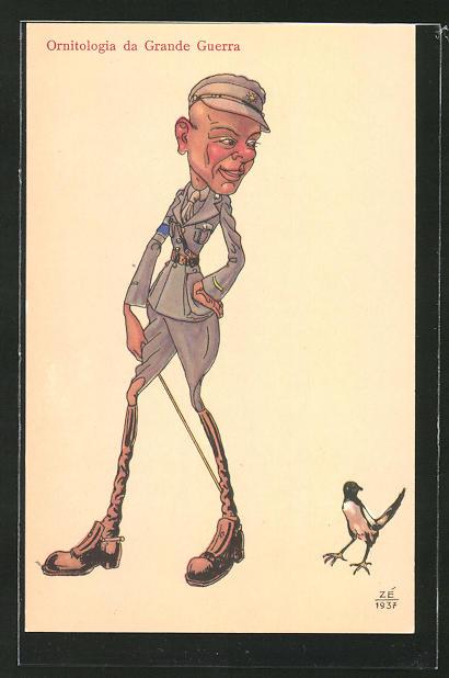 AK Vogel verfolgt einen Soldat ganz unauffällig, Karikatur, Ornitologia da Grande Guerra