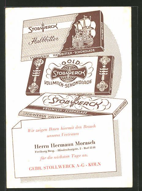 AK Stollwerk-Schokolade Vertreter Hans Hermann Morasch, Freiburg /Brsg.
