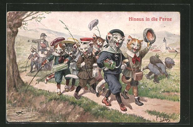 Künstler-AK Arthur Thiele: Hinaus in die Ferne, Katzenschule