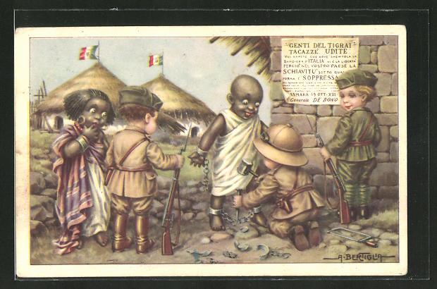 Künstler-AK A. Bertiglia: kleiner ital. Soldaten in Afrika, Sklaven, Propaganda