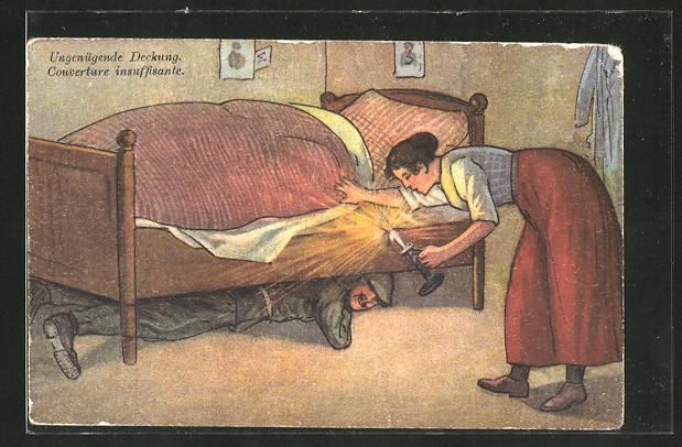 AK Ungenügende Deckung, Soldat versteckt sich unter Bett