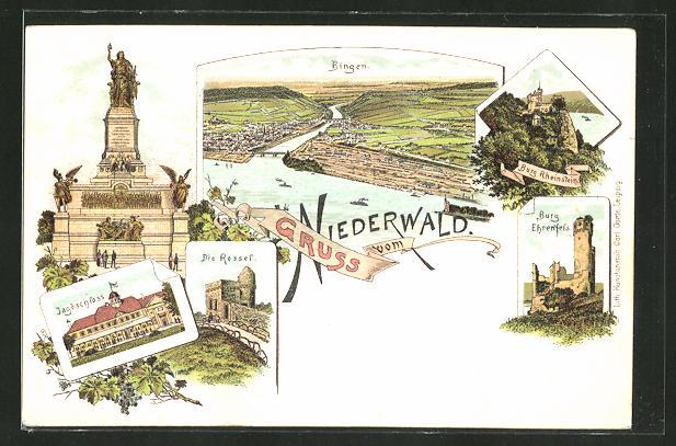 Lithographie Bingen, Niederwalddenkmal, Burg Rheinstein, Burg Ehrenfels, Jagdschloss, Rossel