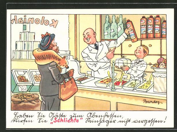 Künstler-AK Ferdinand Barlog: Haben sie Gäste zum Abendessen..., Schlichte, Reklame