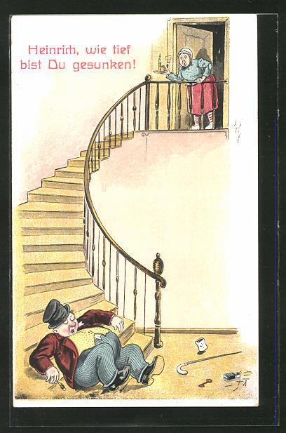 Künstler-AK Willi Scheuermann: Betrunkener Mann schläft auf einer Treppe