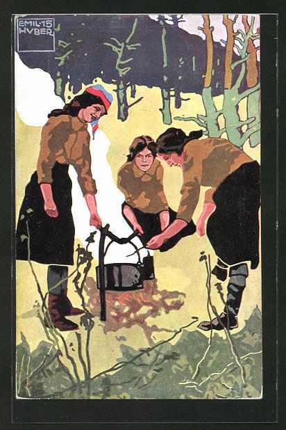 Künstler-AK sign. Emil Huber: Pfadfinderinnen beim Abkochen