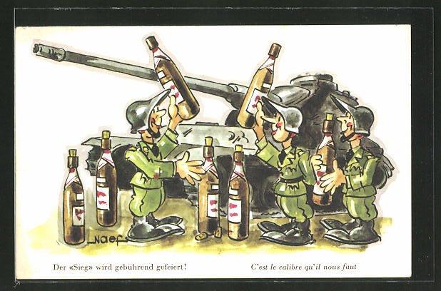 AK schweizer Soldaten am Panzer feiern ihren Sieg