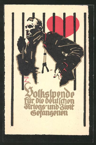 Künstler-AK Ludwig Hohlwein: Erinnerung an die Volksspende 1916, Bildnis eines Kriegsgefangenen