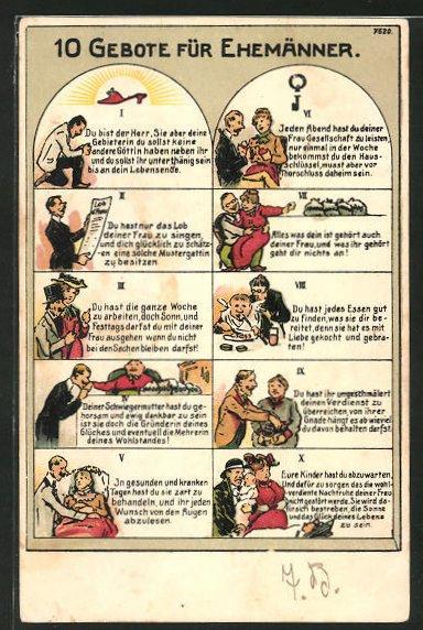 AK 10 Gebote für Ehemänner, Humor, Scherz