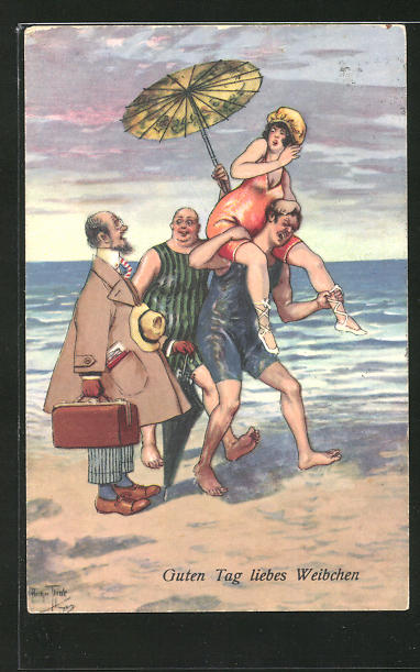 Künstler-AK Arthur Thiele: Guten Tag liebes Weibchen, lustige Szene am Meer
