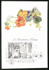 Menükarte Liqueur Benedictine, La Benedictine a Fecamp, La Salle des Abbes, Blumenverzierung, Pferderennen