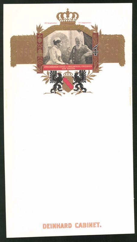 Präge-Menükarte Deinhard Cabinet, Grossherzogin Louise & Grossherzog Friedrich von Baden 1856-1906, Wappen