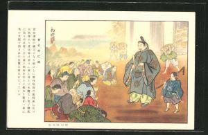 AK Japaner in Tracht beten im Tempel