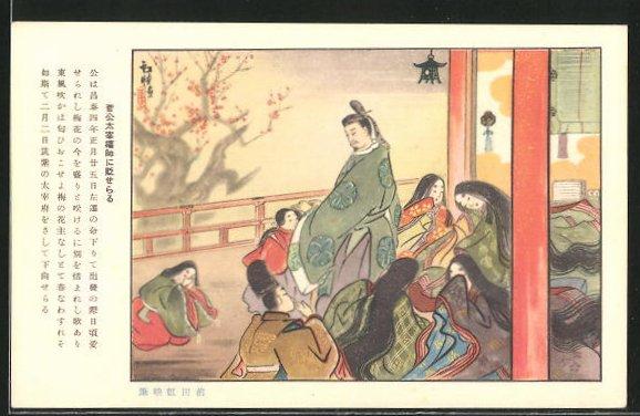 AK Japaner und Geishas beim Gebet im Tempel