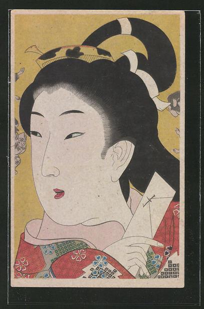 AK erstaunt schauende Geisha mit Gegenstand in der Hand
