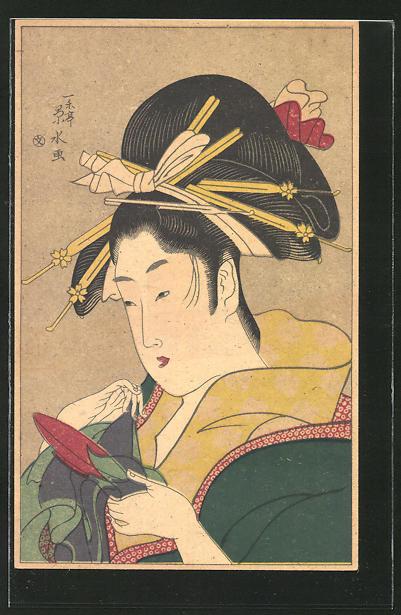 AK Geisha mit Haarschmuck & Gegenstand in der Hand