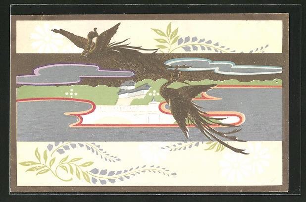 Künstler-AK Paradiesvögel fliegen über einen Fluss