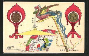 Künstler-AK Paradiesvogel mit Fächer und Gong
