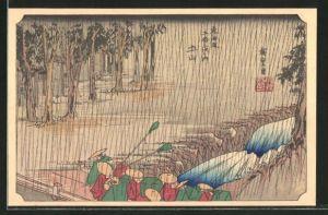 Künstler-AK Japaner mit Kegelhüten auf einer Brücke, Japanische Kunst