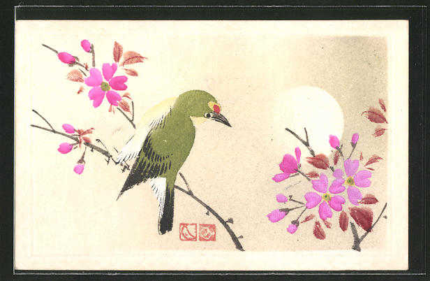 Künstler-AK Vogel auf einem blühenden Baum, Japanische Kunst