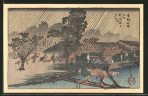 Künstler-AK Japaner mit Schirmen im Regen, Japanische Kunst