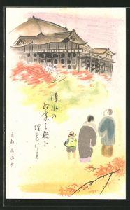 Künstler-AK japanische Familie blickt zum Tempel, Japanische Kunst