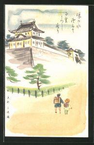 Künstler-AK japanische Schulkinder auf dem Weg zum Tempel, Japanische Kunst
