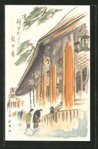 Künstler-AK Japaner am Tempel, Japanische Kunst