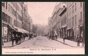 AK Manchester, NH, Hanover Street mit Geschäften