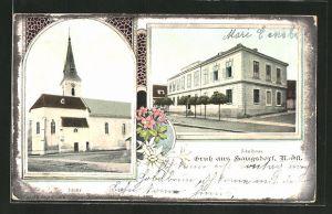 AK Haugsdorf, Blick auf Kirche und Schulhaus