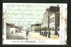 AK Haugsdorf, Strassenpartie mit Radfahrer