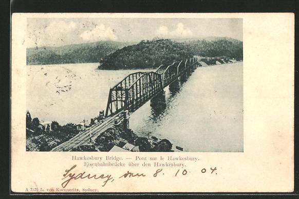 AK Sydney, Eisenbahnbrücke über den Hawkesbury