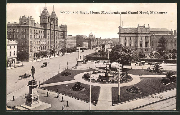 AK Melbourne, Gordon and Eight Hours Monuments and Grand Hotel