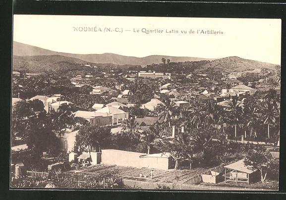 AK Nouméa /Neukaledonien, le Quartier Latin vu de l'Artillerie
