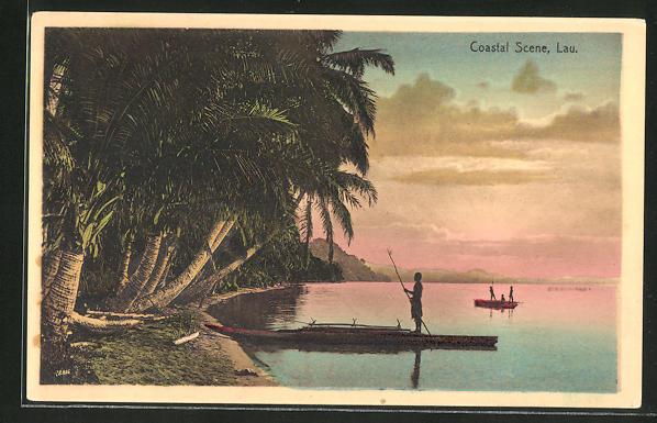 AK Fiji, Strandpartie mit einheimischen Flössen