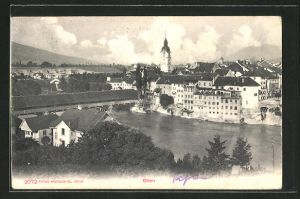 AK Olten, Ortspartie mit Brücke und Kirche aus der Vogelschau