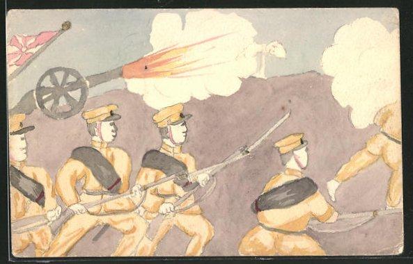 Künstler-AK Handgemalt: Russisch-Japanischer Krieg, japanische Soldaten