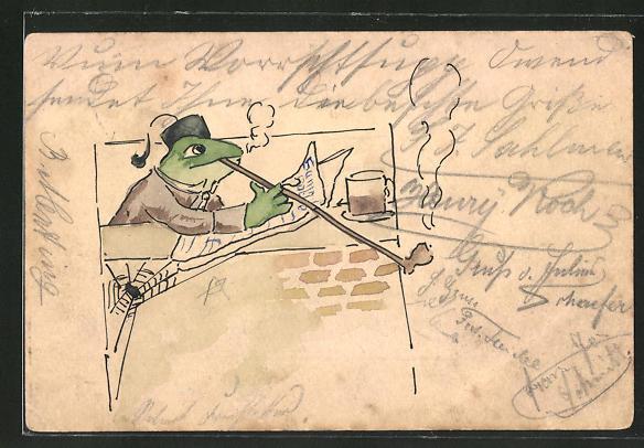 Künstler-AK Handgemalt: Frosch mit Pfeife liest Zeitung