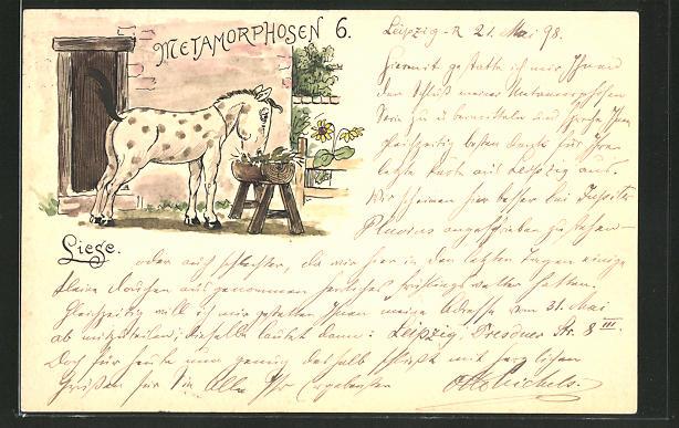 Künstler-AK Handgemalt: Methamorphosen 6 - Liese, Pferd an der Futterkrippe, sign. Otto Michels