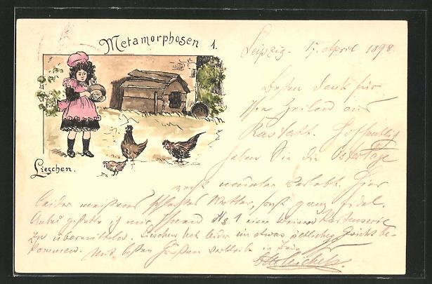Künstler-AK Handgemalt: Methamorphosen 1 - Lieschen, kleines Mädchen füttert Hühner, sign. Otto Michels
