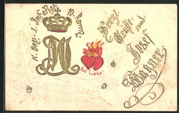 Künstler-AK Handgemalt: K. Bayr. 1. Inf. Regiment 10. Kompagnie, Wappen & brennende Herzen