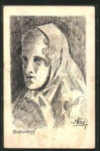 Künstler-AK Handgemalt: Porträt einer Frau mit Kopftuch