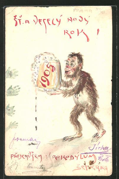 Künstler-AK Handgemalt: Affe mit Bierkrug, Neujahrs-Gruss 1905