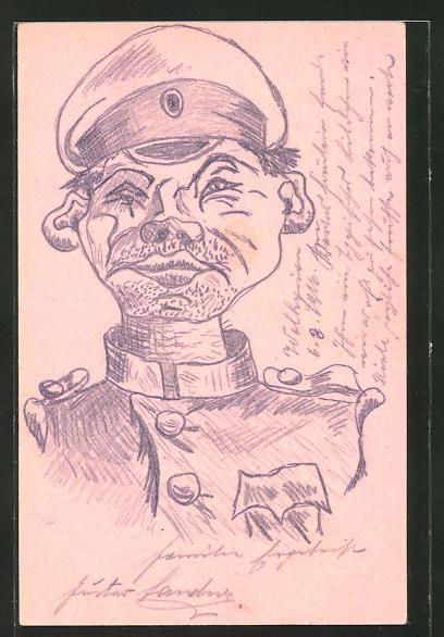 Künstler-AK Handgemalt: russischer Soldat in Uniform