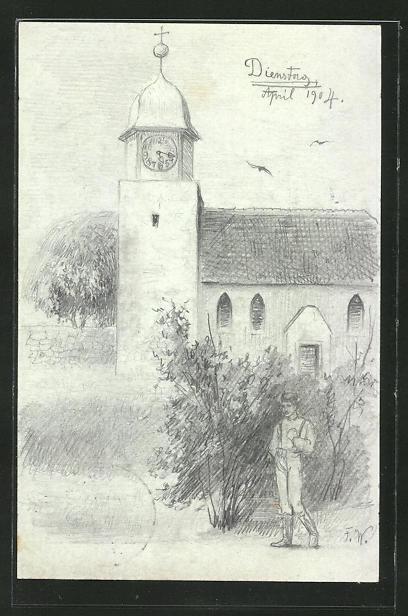 Künstler-AK Handgemalt: Mark Brandenburg, junger Mann vor einer Kirche, sign. Fritz Weissenborn